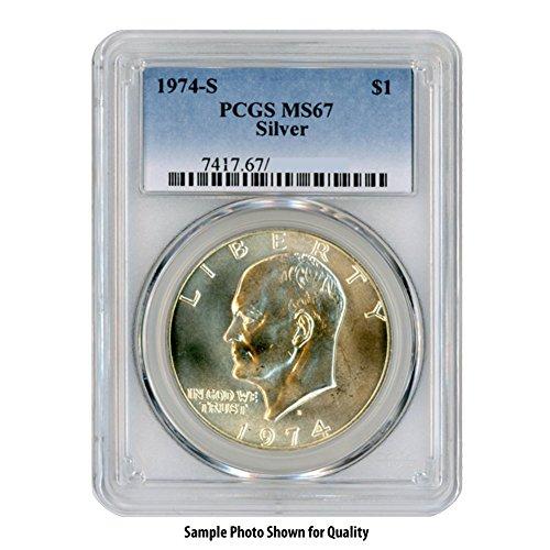 1974 S 40% Silver Eisenhower Ike Dollar $1 MS67 PCGS