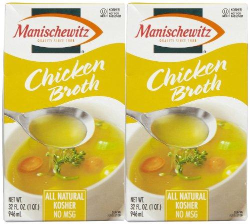 Manischewitz All Natural Chicken Broth (Not Certified Kosher For Passover), 32 oz, 2 pk ()