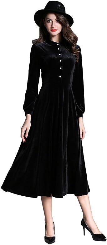 Zkoo Retro Femme Robe En Velours Manches Longues Elegant Robe De Soiree Longue Dress Swing Big Rouge Noir Amazon Fr Vetements Et Accessoires