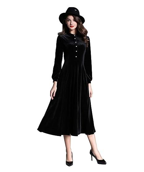 8d9b04d4f6d ZKOO Rétro Femme Robe en Velours Manches Longues Élégant Robe de Soirée  Longue Dress Swing Big