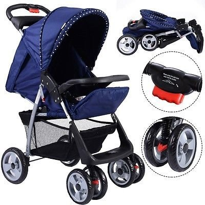 Foldable Baby Kids Travel Stroller Newborn Infant Buggy Pushchair Child Blue by Apontus