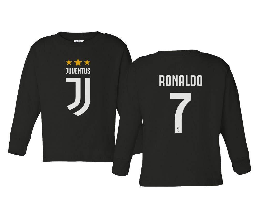 スパークアパレル サッカーシャツ #7 クリスティアーノロナウド CR7 リトルキッズ ガールズ ボーイズ トドラー 長袖Tシャツ 5T ブラック B07K4R1G1M