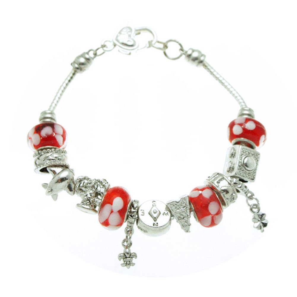 SWEETIE 8 Jewelry Women's Red Floral Travel Murano Glass Beads and Charms Bracelet, 7.5''
