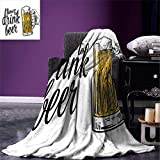 SINOVAL Lifestyle Throw Blanket Time to Drink Beer Quote with a Man Hand Holding The Mug Toast Illustration Warm Microfiber All Season Blanket for Bed or Couch Yellow Black