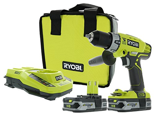 Ryobi P1812 One+ 18V Lithium Ion Cordless 600 Inch Pound Hammer Drilling Combination Kit (1 x P214 Hammer Drill, 2 x P107 18V Batteries, 1 x P117 Charger, 1 x Tool Bag) - Arm Torque Crank