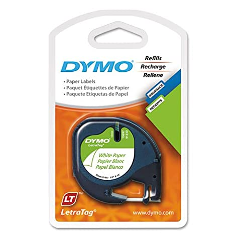 DYMO - LetraTag Paper Label Tape Cassettes, 1/2in x 13ft, White, 2/Pack 10697 (DMi PK - Dymo Letratag 10697 Paper Tape