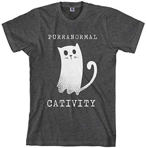 Supernatural Halloween Ideas (Threadrock Men's Purranormal Cativity Ghost Cat T-Shirt 2XL Dark)