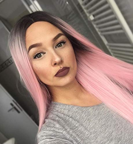 Aisi Hair Pink Long Wig Synthetic Straight Ombre Wigs For Women Middle Part Dark Root Natural Looking Hair 2 Tone Heat Resistant Fiber Wig by Aisi Hair