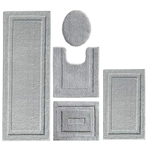 mDesign Soft Microfiber Polyester Bathroom Spa Rug Set - Water Absorbent, Machine Washable, Plush, Non-Slip - Includes 3 Rectangular Accent Rugs, Contour Mat, Toilet Lid Cover - Set of 5 - Gray from mDesign