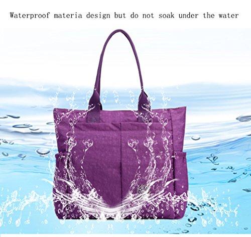 Nylon Water Resistant Multi Pockets Large Lightweight Tote Bag Shoulder Bag Waterproof Handbags (LightGray HB) by MORHUA (Image #5)