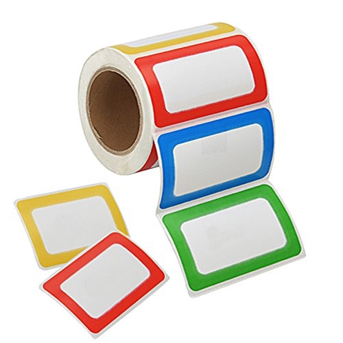Immuson 200 Name Tag Labels Colorful Border Name Tag Stickers School Office Party Stickers ()