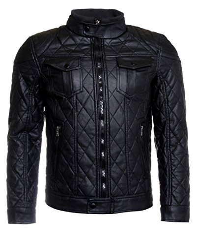 Young & Rich Herren Kunstlederjacke Übergangsjacke Stepp Jacke schwarz Slimfit leicht gefüttert Biker Look