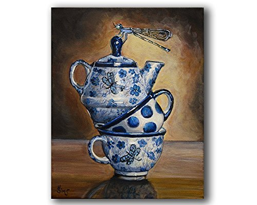 Polish Pottery Dragonfly Teacups Stacked Wall Art Print Rustic Kitchen Home Decor, size mat option