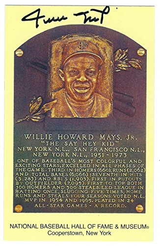 - Autographed Willie Mays Hall of Fame Gold Plaque with COA