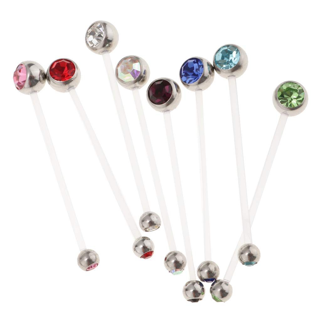 Homyl 8 Pieces Stainless Steel Short Belly Button Rings Navel Jewelry Bars Piercing Studs