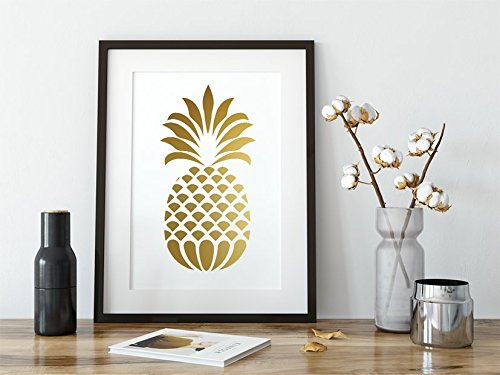 Large Gold Foil Pineapple Modern Wall Art Decor Print - 11 x 14 inches Gold Metallic Foil Tropical - Pineapple Large Print