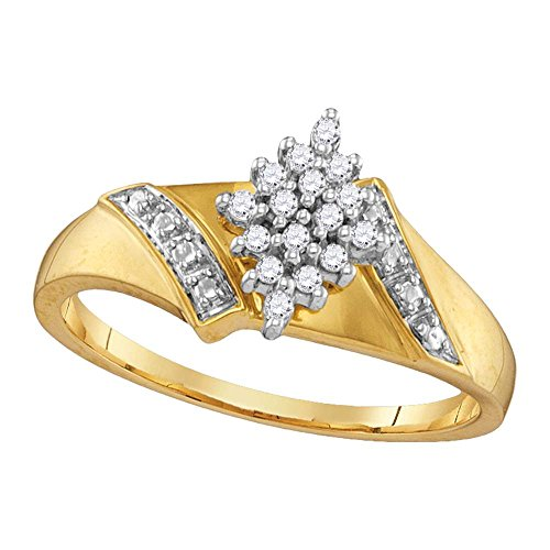 14kt Yellow Gold Womens Round Diamond Oval Cluster Ring 1/10 Cttw (I3 clarity; J-K color) (Cluster Ring 14k)