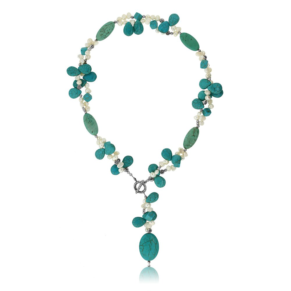 Gem Stone King 24'' Simulated Turquoise Color & White Cultured Freshwater Pearl Necklace with Toggle Hook