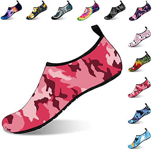 ORNICE Womens and Mens Water Shoes Barefoot Quick-Dry Aqua Socks for Beach Swim Surf Yoga Exercise Pink camo, 41/42 ()