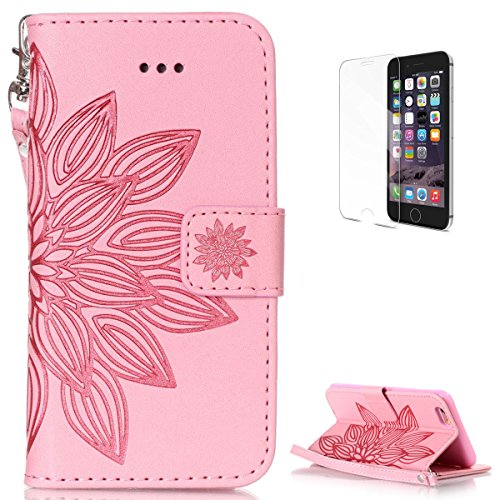 Iphone 6 6S Plus 5 5 Inch Leather Wallet Case  With Free Screen Protector  Kasehom Mandala Lotus Flower Embossed Folio Magnetic Flip Stand Pu Leather Protective Case Cover Skin Shell Pink  2