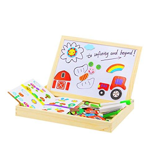 磁気木製パズルおもちゃwith Dry Eraseホワイトボードfor Drawing &パズルゲーム黒板Doodle教育木製おもちゃfor Toddlers with 100パズルto learn alphabet色動物番号