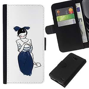 EJOY---La carpeta del tirón la caja de cuero de alta calidad de la PU Caso protector / LG OPTIMUS L90 / --Gráfico de la chica japonesa Sketch Moda azul de Bowtie