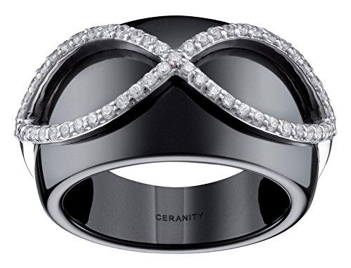 Ceranity - 1-12/0068-N - Bague Femme - Infini - Argent 925/1000 2.32 gr - Céramique - Oxyde de zirconium - Noir/Blanc