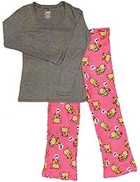 Womens Pink Napping Pug Pajamas Puppy Dog Bone Dreaming Sleep Set