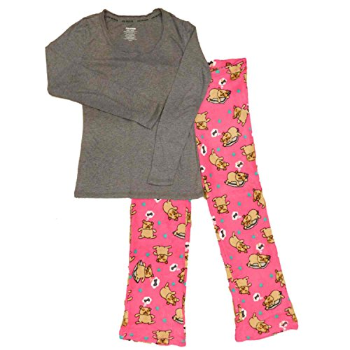 Joe Boxer Clothes (Joe Boxer Womens Pink Napping Pug Pajamas Puppy Dog Bone Dreaming Sleep Set X-Large)