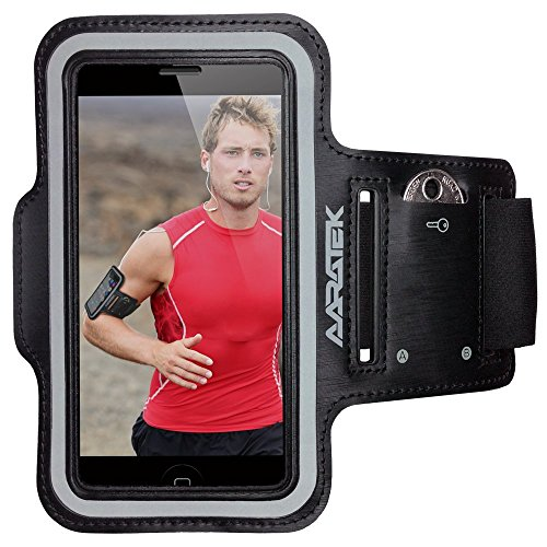 60% OFF SEASONAL DEAL - AARATEK Pro Sport Armband for iPhone 5,5s,5c, 4,4s, iPod Touch (Black) - Best for workouts, running, cycling, or any fitness activity outside or in the gym - Room for cash too!