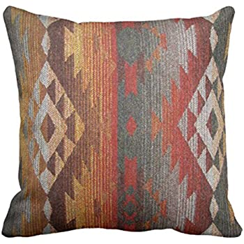 Emvency Throw Pillow Cover Western Navajo Orange and Grey Southwest Decorative Pillow Case Home Decor Square 18 x 18 Inch Pillowcase