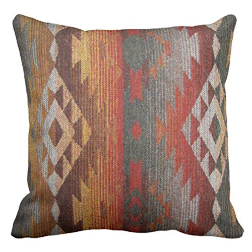 Emvency Throw Pillow Cover Western Navajo Orange and Grey Southwest Decorative Pillow Case Home Decor Square 18 x 18 Inch Pillowcase (Covers Western Couch)