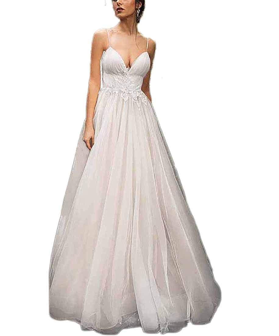 Ivory XJLY Women's Spaghetti Beach Bridal Dress Applique Wedding Dresses