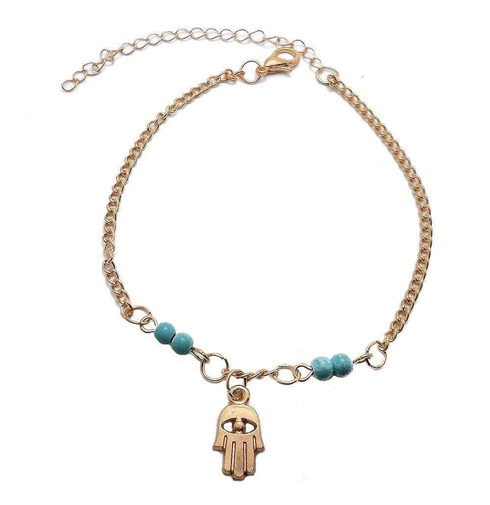 Chaîne De Cheville Main De Fatma Dorée Perle Bleu Turquoise Bijou Femme