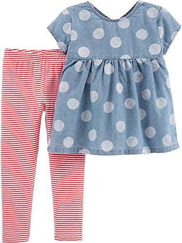 (Carter's Toddler Girls Polka Dot Chambray Stripe Leggings Set 4T Denim Blue/White/red )