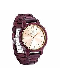 Morrivoe Mens Natural Wood Watches 45mm Dial Analog Display Japan Quartz Wristwatches Gift (Fuchsia)