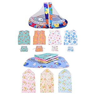 Toddylon 4 Sleeveless Cotton Shirt with 4 Langot Nappies 3 Blankets 1 Net Bed & 4 Plastic Sheets for New Born Baby (0-6…