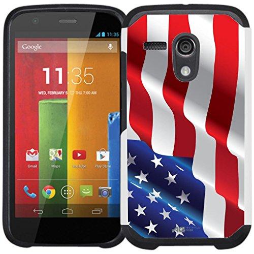 Moto G (1st Gen) Case - Armatus Gear (TM) Slim Hybrid Armor Case Protective Cover for Motorola Moto G / Moto G LTE (1st Generation Only) - American Flag
