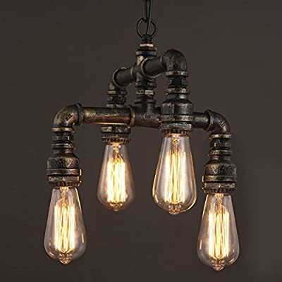 NIUYAO Antique Industrial Wrought Iron Chandelier Pendant Lighting Vintage Steampunk Water Pipe Retro Loft Ceiling Chandeliers Edison Hanging Lamp Fixture Rustic Lighting,Antique Brass Finish