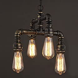 NIUYAO Antique Industrial Wrought Iron Pendant Chandelier Lighting Vintage Steampunk Water Pipe Retro Loft Hanging Lamp Fixture Rustic Lighting,Antique Brass Finish