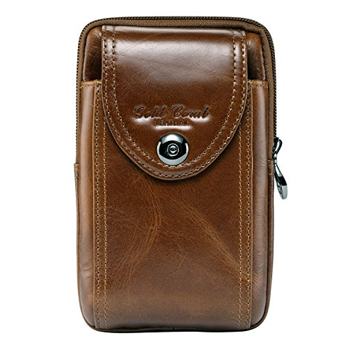 Sunmig Men Genuine Leather Cell Phone Belt Loop Holster Case Belt Waist Bag Pouch Purse Wallet