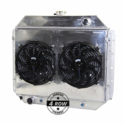 Primecooling 62MM 4 Row Core Aluminum Radiator +Fan (12 inches Dia.) Shroud for Ford F100 F150 F250 F350 Truck Pickup 1966-79/Bronco V8 1978-79