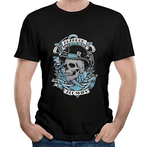 Gody Men's Abandon All Ships Rock Band Skull All Ship O-neck O-neck T Shirts Black M