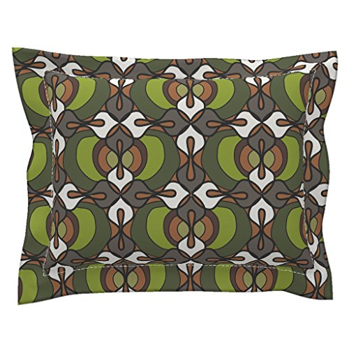Roostery African Euro Flanged Pillow Sham Faux Wax-Olive by Designertre Natural Cotton Sateen made (Flanged Wax)