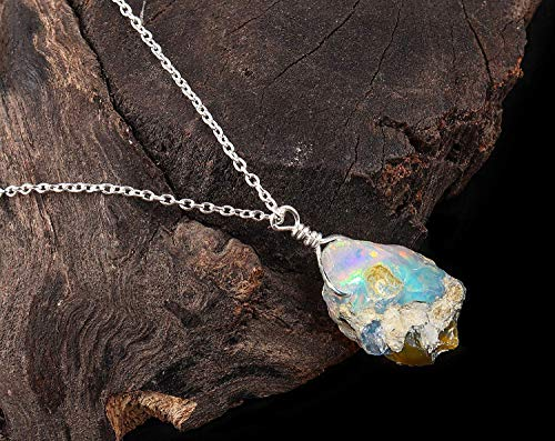 Raw Ethiopian Opal Pendant Necklace Natural Gemstone Dainty Crystal Jewelry October Birthstone 925 Sterling Silver Chain
