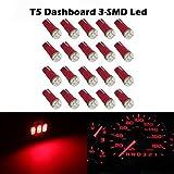 Partsam 20x Red T5 Wedge 3-3014-SMD Instrument Cluster LED Light Bulb 37 73 for GMC Savana 2500 3500