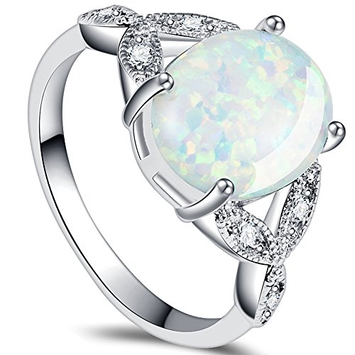 - iSilver925 Sterling Silver Fire Opal Wedding Ring Engagement Anniversary Propose Statement (8)