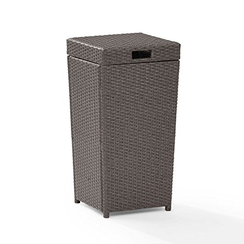 Crosley Furniture Palm Harbor Outdoor Wicker Trash Bin - Grey (Chairs Outdoor Gray Wicker)
