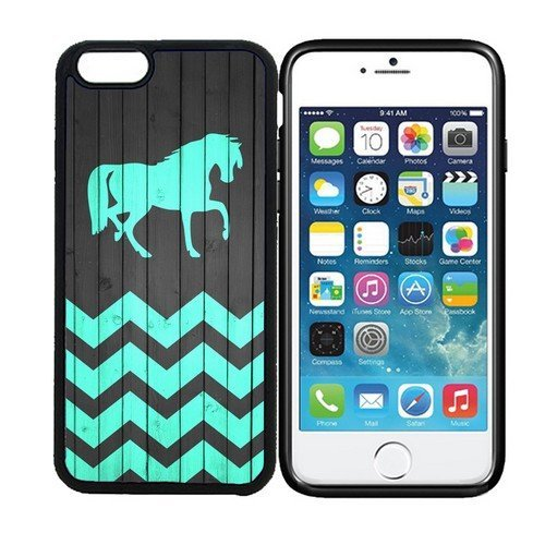 RCGRAFIX iPhone 6 PLUS (5.5 inch display) Designer Black Cell Protective Mobile Case - Horse - On Wood Teal Zig Zag Pattern