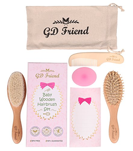 GDFriend 6 Piece Baby Wooden Hair Brush and Comb Set | Natural Soft Goat Bristles Hair Brush for Cradle Cap | Wood Bristles massage for Newborns and Toddlers | Premium Baby Shower & Registry Gift